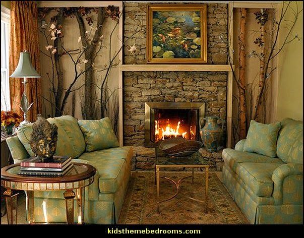 Rustic Style Living Room Northwoods Themed Rooms Camping Theme Rustic Style Decor Forest Bedroom Forest Theme Bedroom
