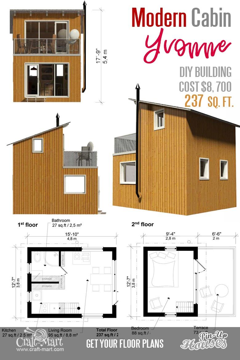 Cute Small Cabin Plans (A-Frame Tiny House Plans, Cottages, Containers) -  Craft-Mart | Small cabin plans, Cute small houses, Tiny house plans