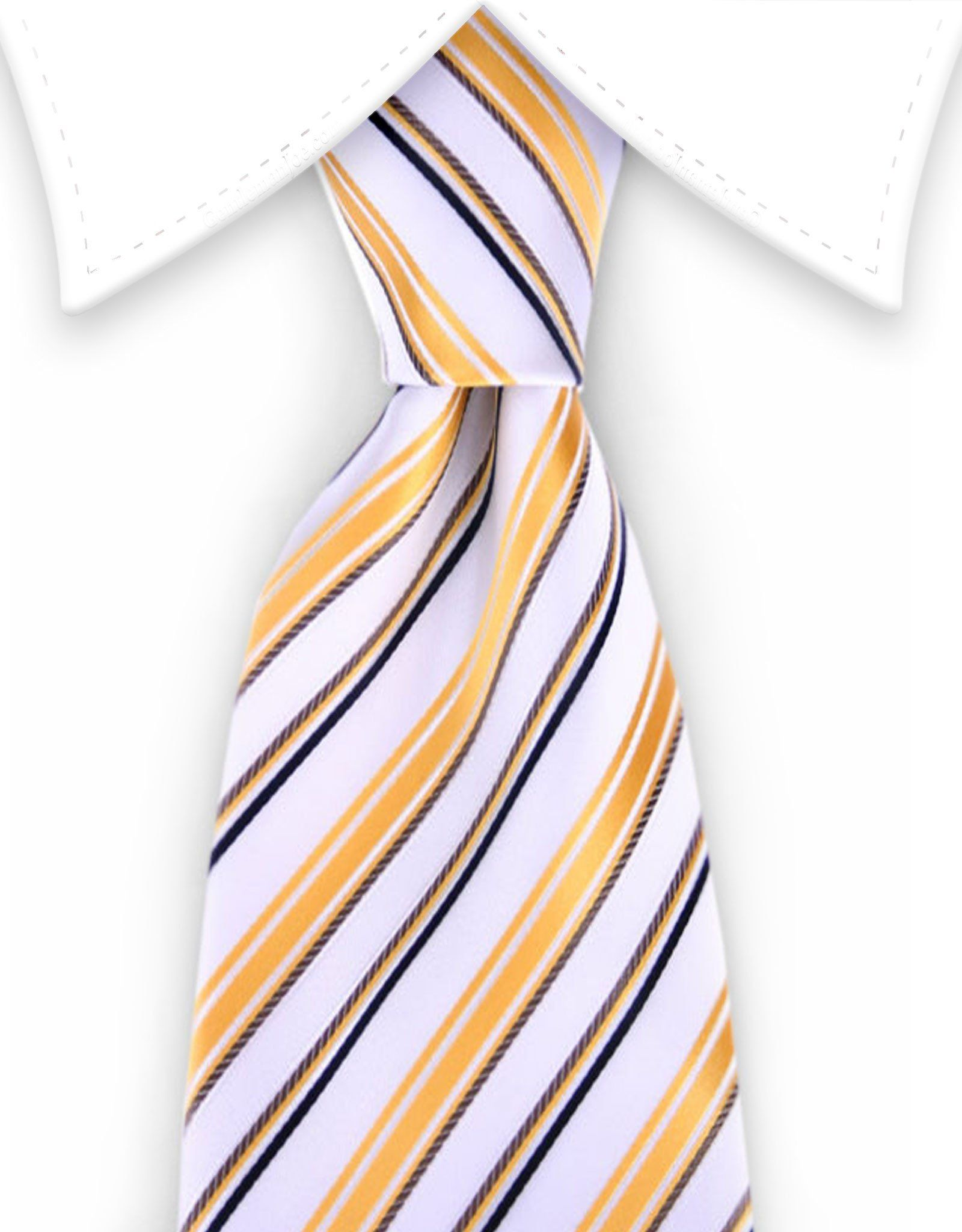 and striped tie white Gold