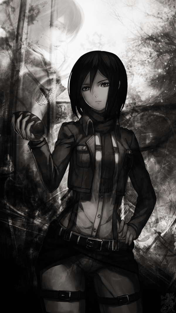 Mikasa From Attack On Titan Seni Jalanan 3d Gambar Anime Gelap
