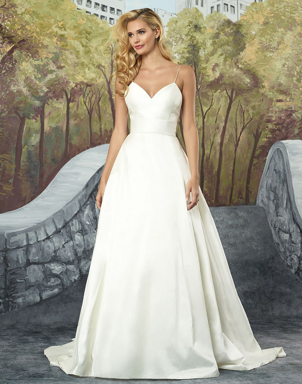 63e289a24 Justin Alexander wedding dresses style 8927 It all starts with a feeling. This  dramatic Silk Dupion ball gown has a deep V-neckline, delicate spaghetti ...