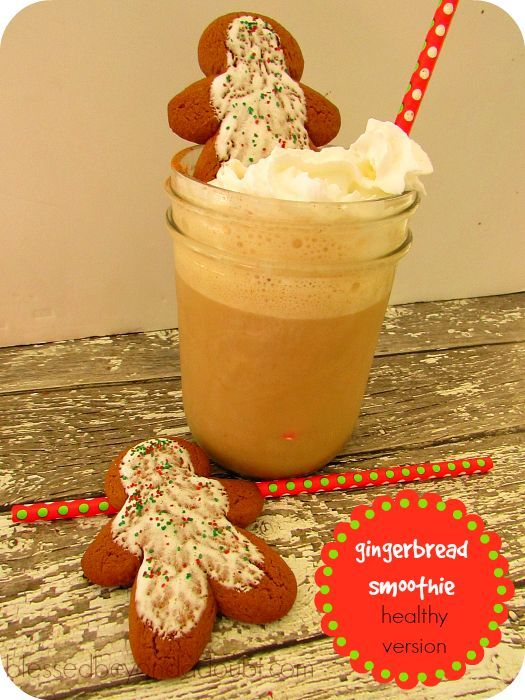 Oh so good healthy gingerbread smoothie! Kid's Version, too!