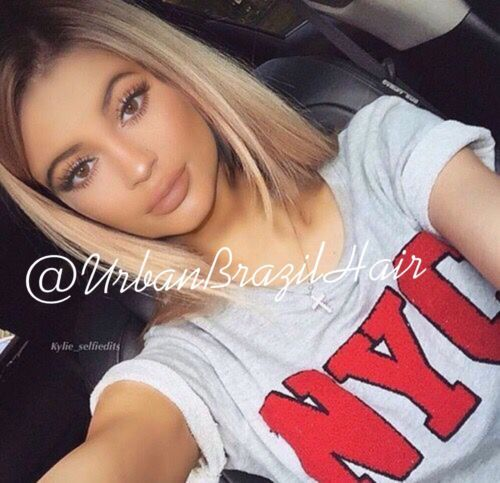 Front Lace Ombre Blonde Wig Hair Piece Kylie Jenner 22 Long Weave Platinum Wavy