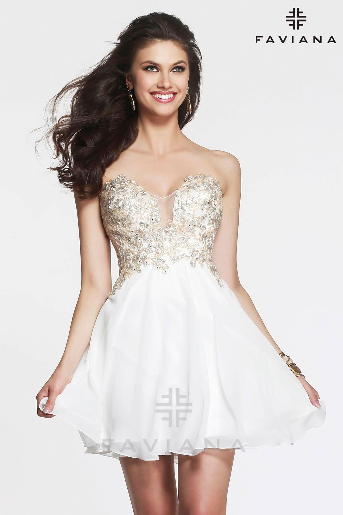 Faviana Style S7436 Short Strapless Lace Chiffon - Graduation ...