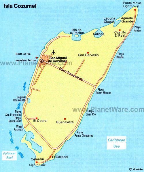 Isla Cozumel Map Tourist Attractions Honeymoon Cozumel