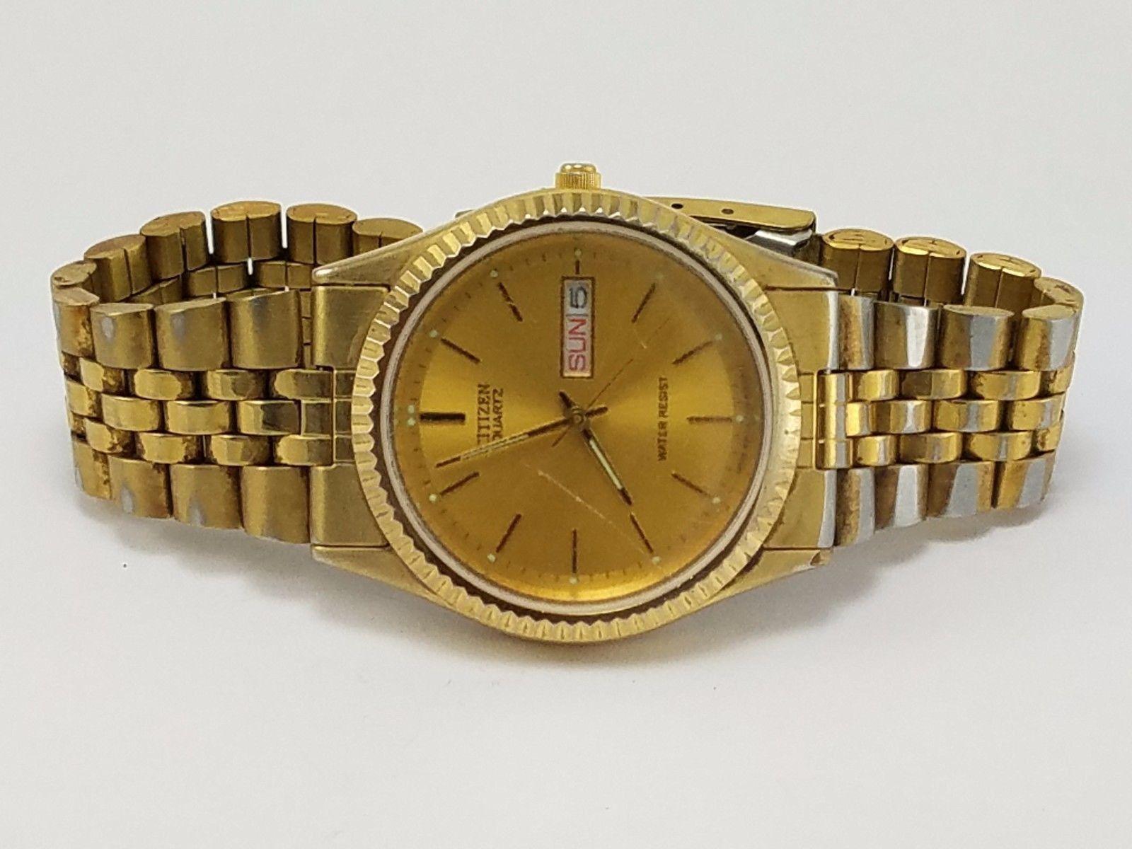 citizen watch co 6100 rc vintage gold toned mens stainless steel citizen watch co 6100 rc vintage gold toned mens stainless steel day date