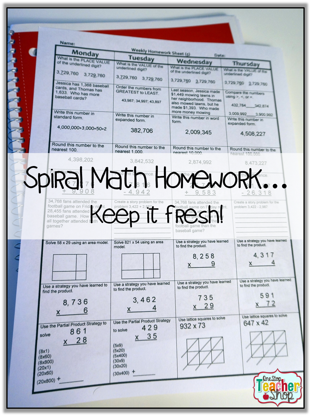 Spiral Math Homework To Reinforce The Standards