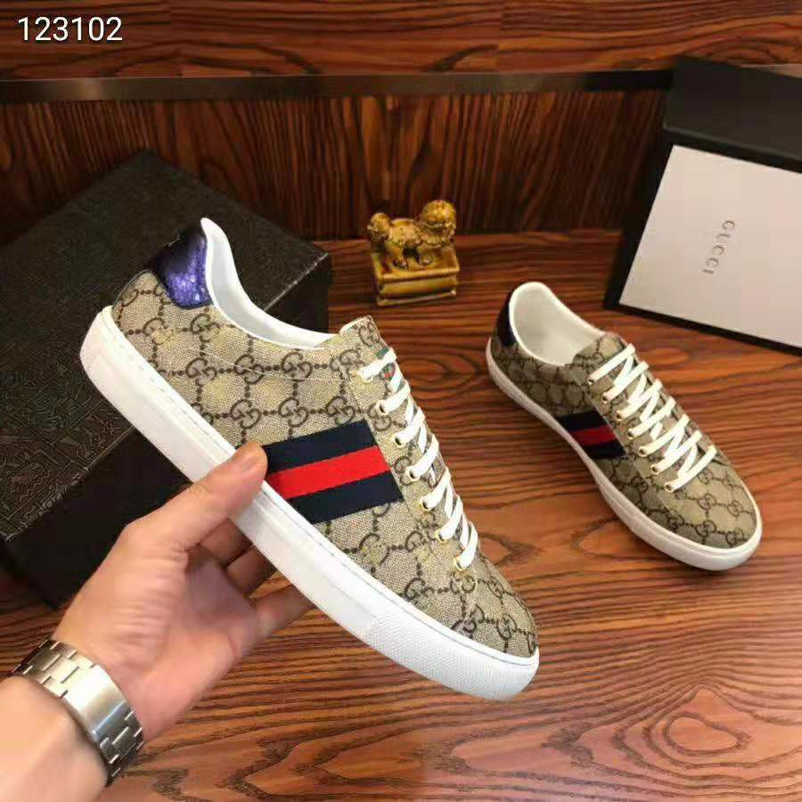 Gucci Men Ace Gg Supreme Bees Sneaker Brown 7 Brown Sneakers Gucci Men Dress Shoes Men