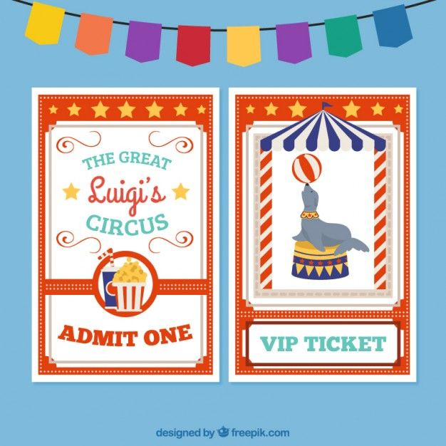 Circus ticket Free Vector
