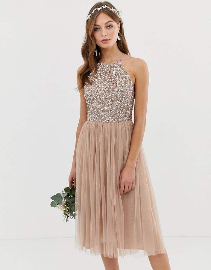 Maya Bridesmaid halter neck midi tulle dress with tonal ...