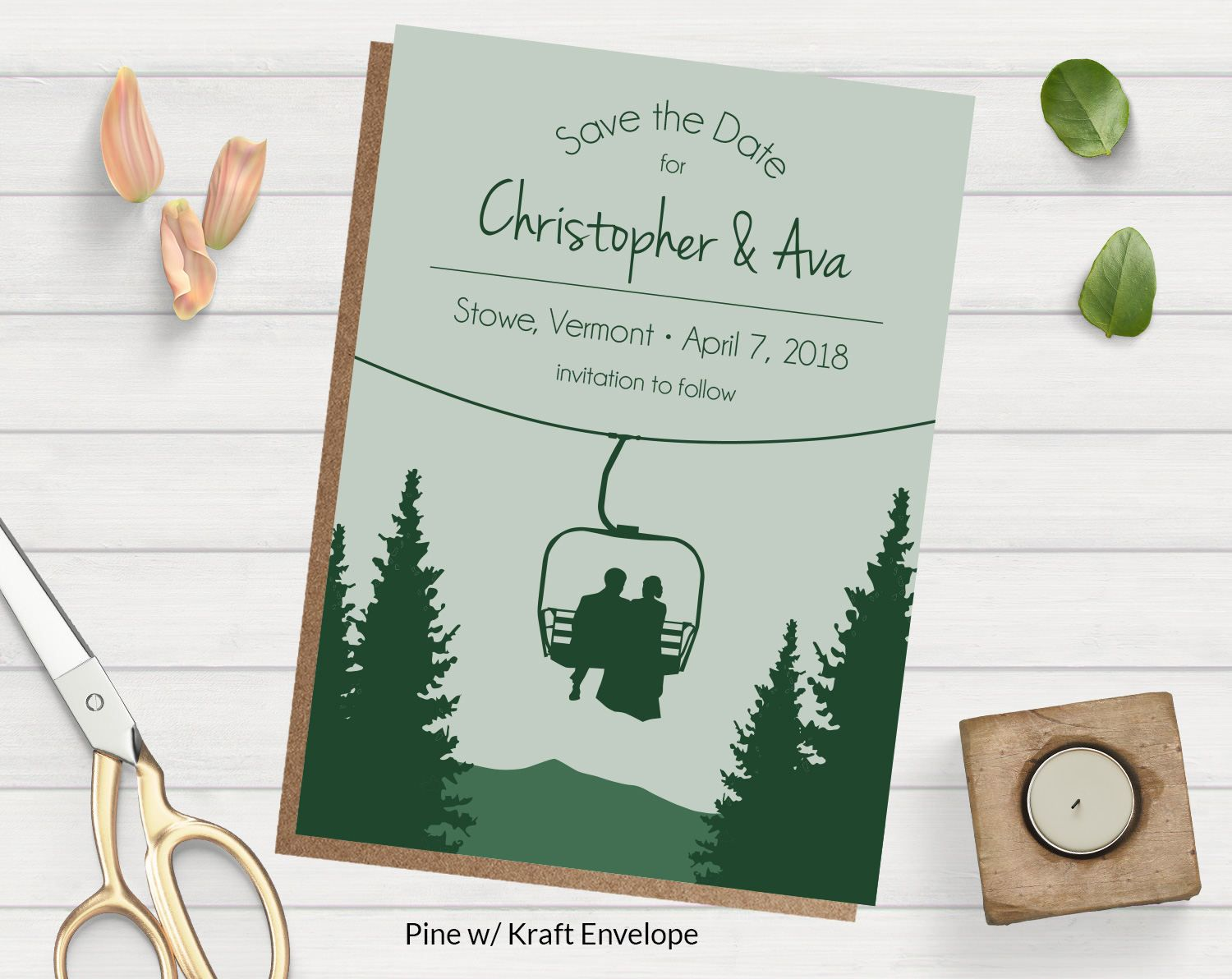 chair lift save the date card wedding invitation for skiers