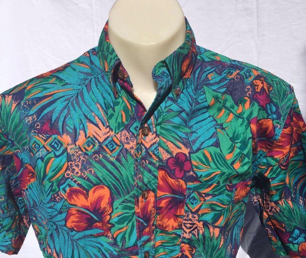 8d424e1901 Vtg CHAPS Ralph Lauren Short Sleeve Shirt Cotton Hawaii Hibiscus Floral  Small