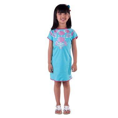 Vestido Flores Azul Toddler Green - G4605352 - Loja Green