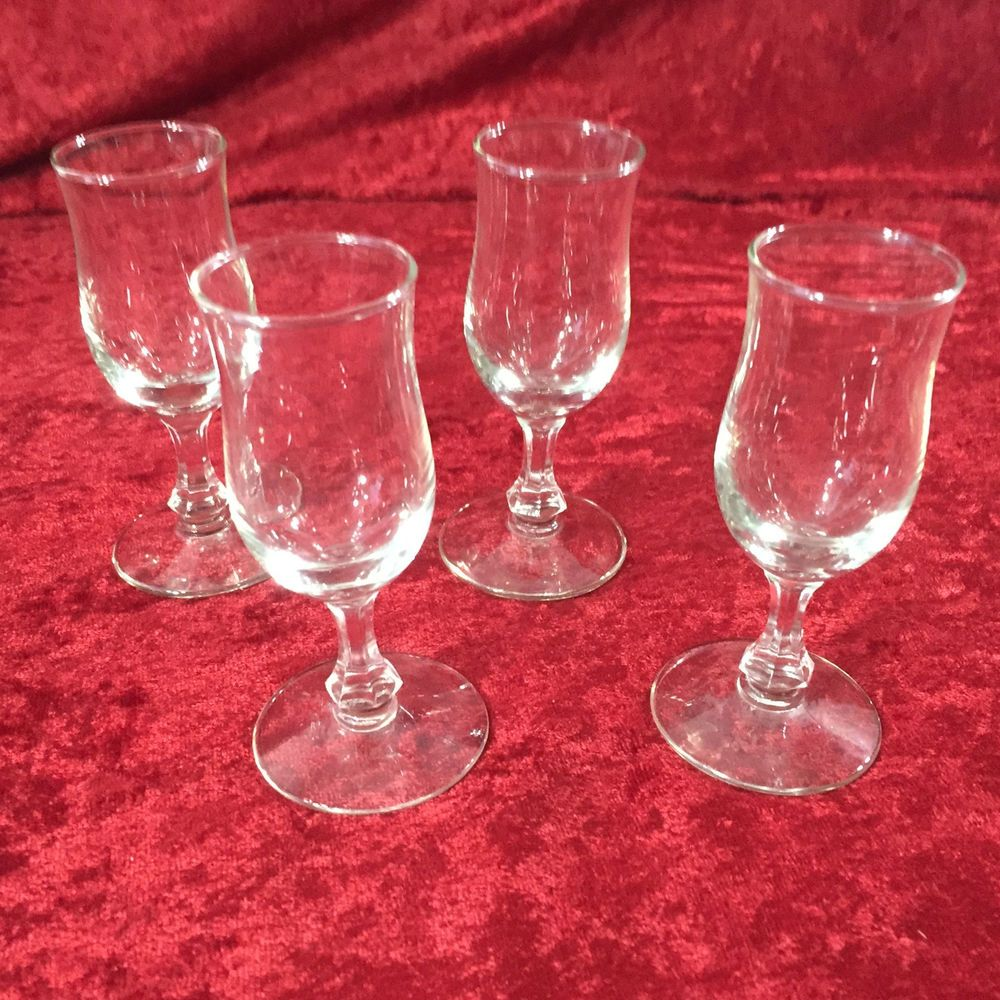 Vintage Set Of 4 Clear Flower Etched Glass Cordial Aperitif Sherry Stemware Stemware Glass Clear Glass