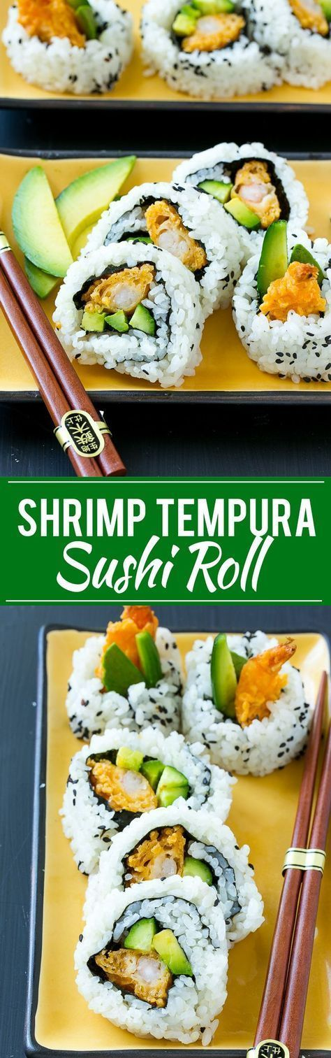This recipe for shrimp tempura roll is crispy shrimp with avocado and cucumber, all wrapped up in seasoned rice. Making sushi at home is actually quite fun and easy to do! #seasonedricerecipes