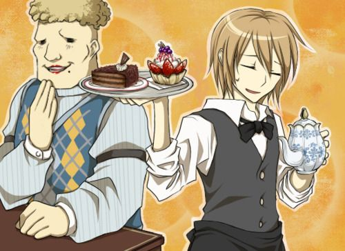 Harvest Moon TOTT. Looks like Cam got forced into helping out at the cafe. Howard looks much more pleased than Cam does.