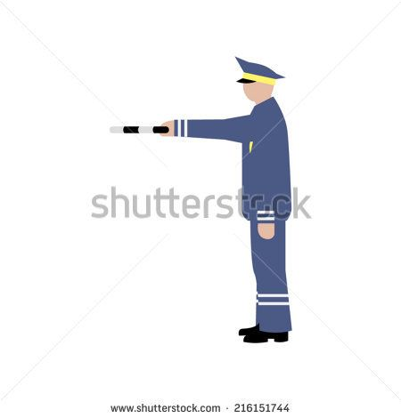 Vector drawing traffic officer in uniform. Gesture Directing Traffic. Ukraine policeman.