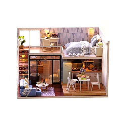 Kids Early Education Toys 3D Puzzles Handmade Miniature Dollhouse DIY Kit Light Blue Time Lavender Story Dollhouses Accessories Dolls Houses with Furniture & LED Best Birthday #dollhouseaccessories
