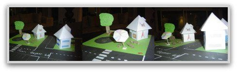 Create a town or geo city with 3D geometric solids