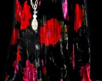 Vtg 80s 90s Rose Romantic Floral Grunge Hippie Crushed Velvet FestivaL Feminie Romance Draped Revival Boho Emo Dress Mini Shirt Top Jacket #emodresses