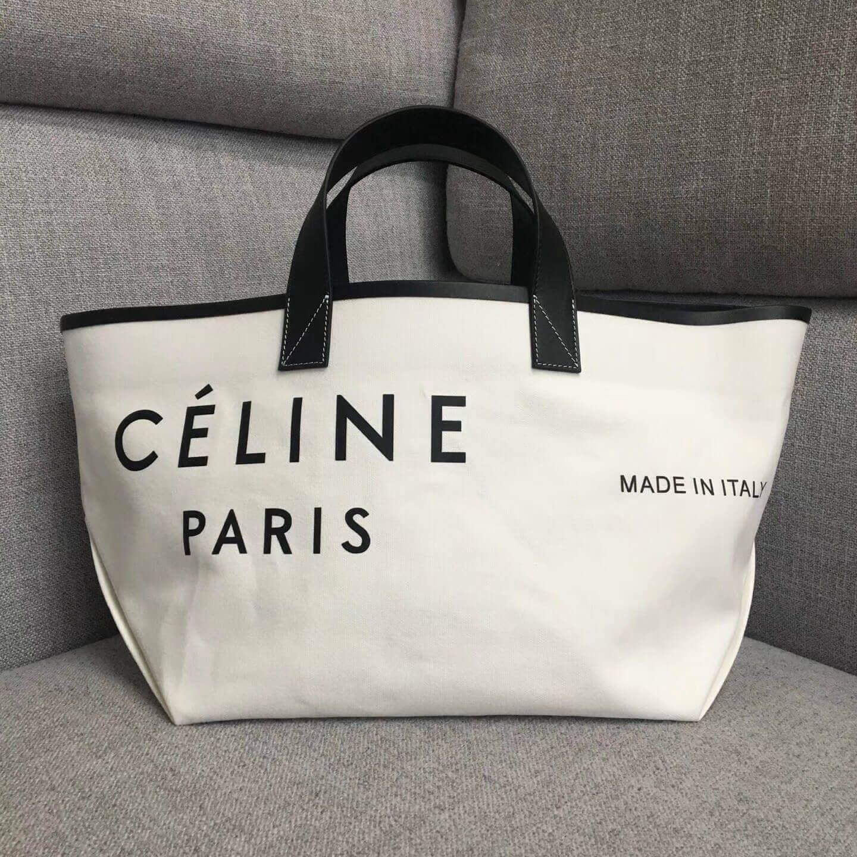 Celine Small Made In Tote In Textile White Black 2018 Celine Handbags Handbags Designer Michael Kors Vintage Designer Handbags