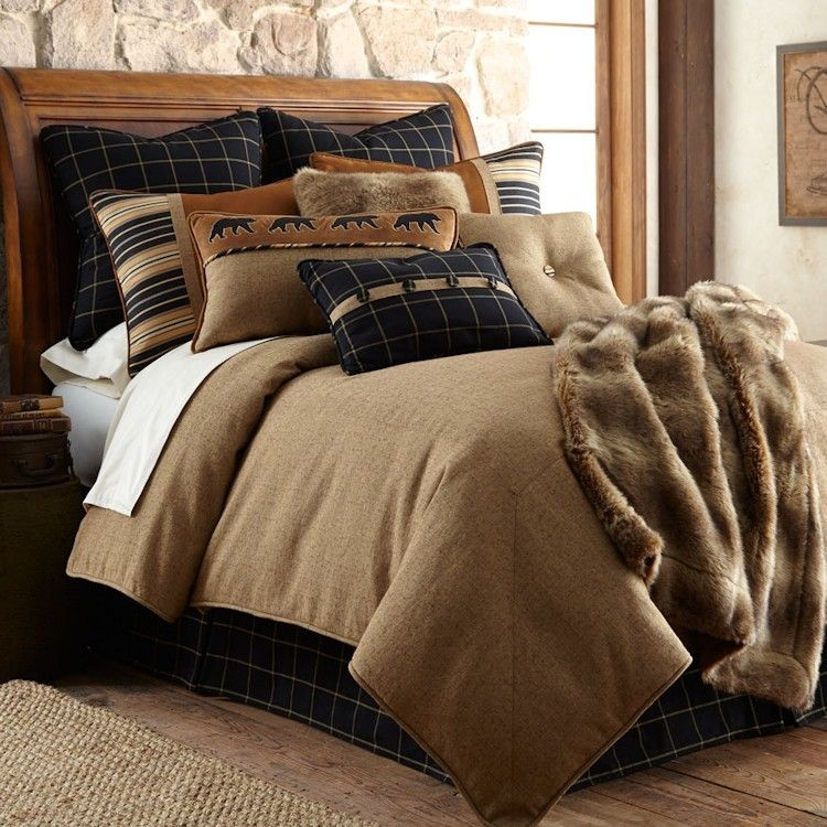 The Hottest Thing In Home Decor Is Burlap And The Ashbury Lodge Comforter Sets Are A Sophisticate Take On Thi Luxury Bedding Comforter Sets Rustic Bedding Sets