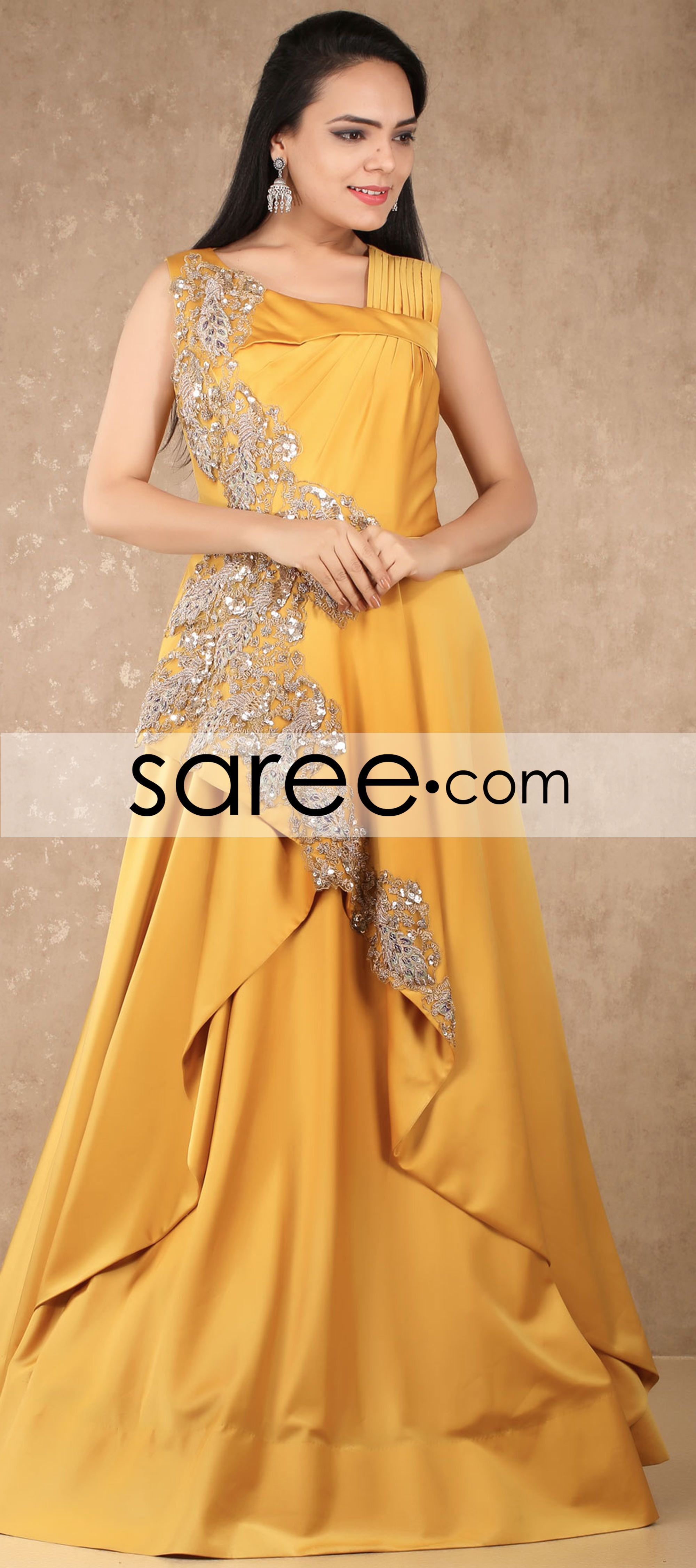 Yellow silk designer gown with embroidery work indian ethnic