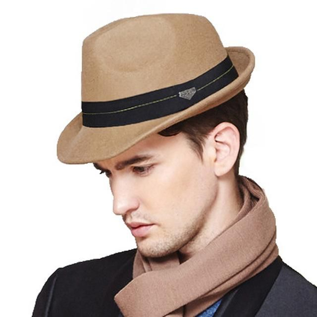 1a0296cb FS British Style Short Brim Mens Trilby Hat Wool Felt With Ribbon Winter