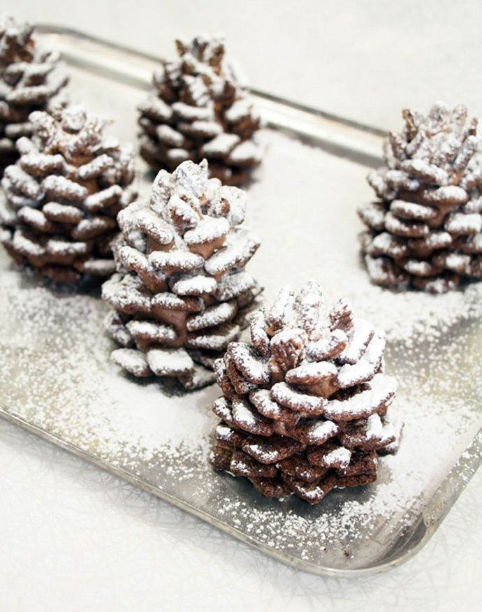 Snowy Chocolate Pinecones - Winter wedding cookies ideas | fabmood.com