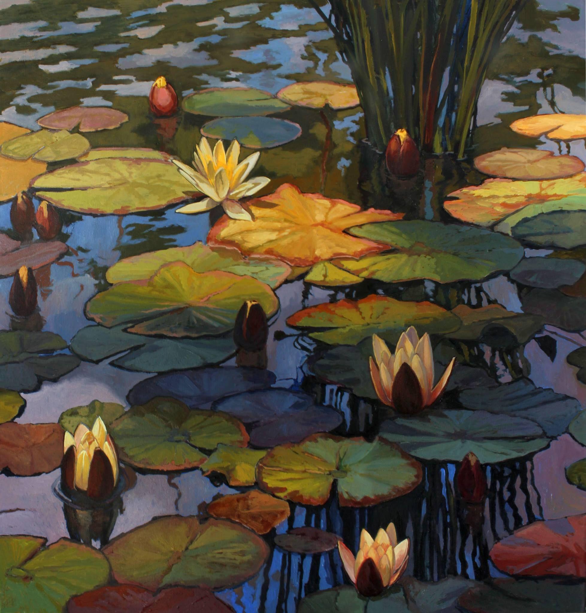"Jan Schmuckal | Water lilies | 48""x 48"" | Tonalist Impressionist painter"