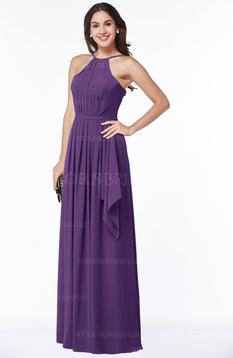 Dark Purple Sexy Halter Sleeveless Zipper Chiffon Ruching Plus Size ...