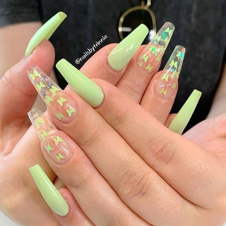 Green Clear Butterfly Nails Pinterest W33ping In 2020 Aycrlic Nails Cute Acrylic Nails Summer Acrylic Nails