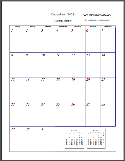 Free Printable Blank Monthly Calendar Sheets Select And Print Pdf