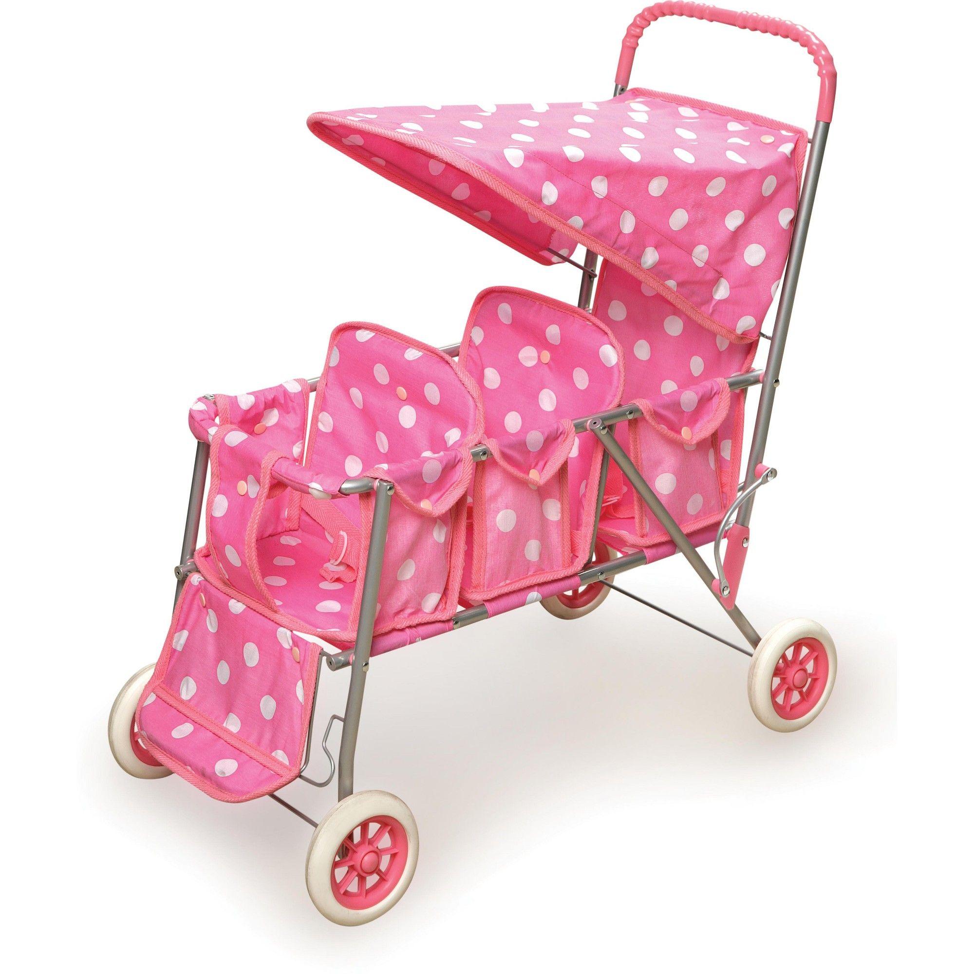 Badger Basket Triple Doll Stroller Polka Dots Baby