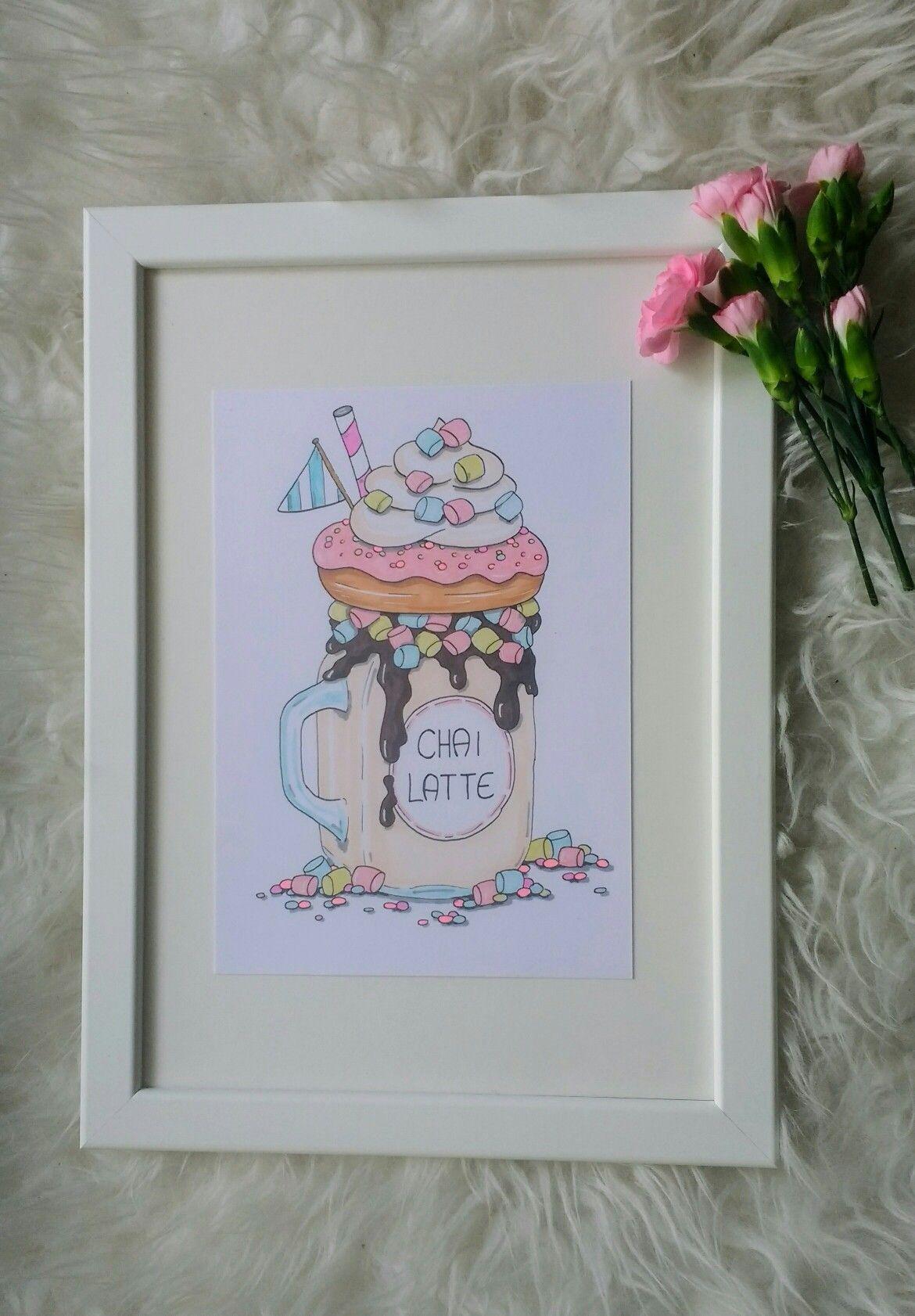 Fancy-chai-latte-Shake  Eine meiner vielen zuckersüßen Illustrationen 🍓 Erhältlich in meinem Etsy Shop: Herz und Zuckerguss www.etsy.com/de/shop/HerzUndZuckerguss