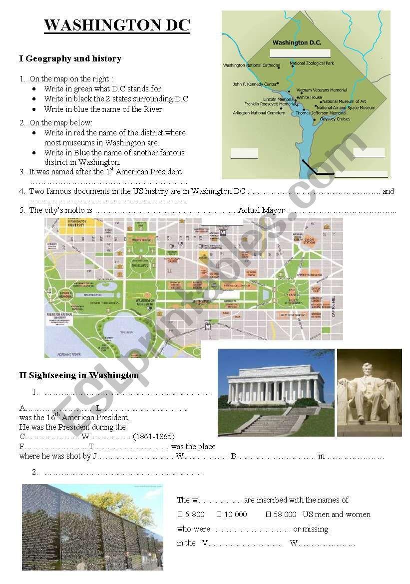 Washington Dc Esl Worksheet By Manoue16 Washington Dc Washington Esl Worksheets