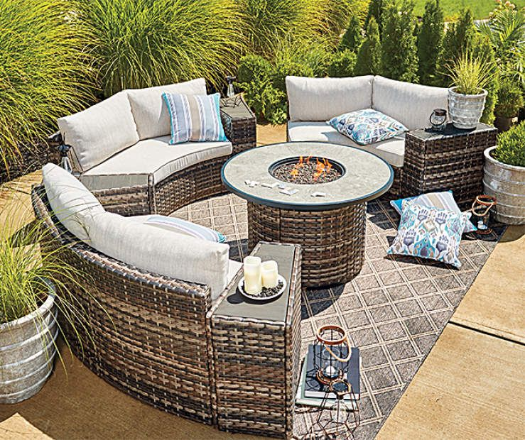Wilson Fisher Manhattan 8 Piece Cushioned Patio Furniture Set At Big Lots Backyard Furniture Patio Furniture Collection Outdoor Patio Table