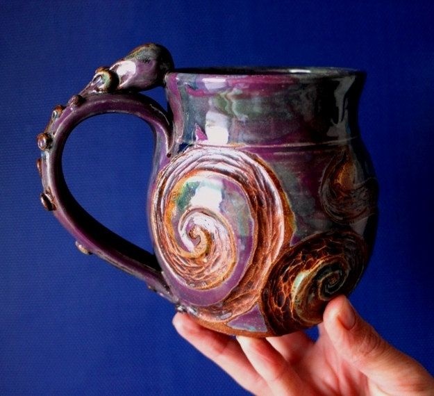 Octopus Pottery Mug Purple Handmade Squid Jellyfish By
