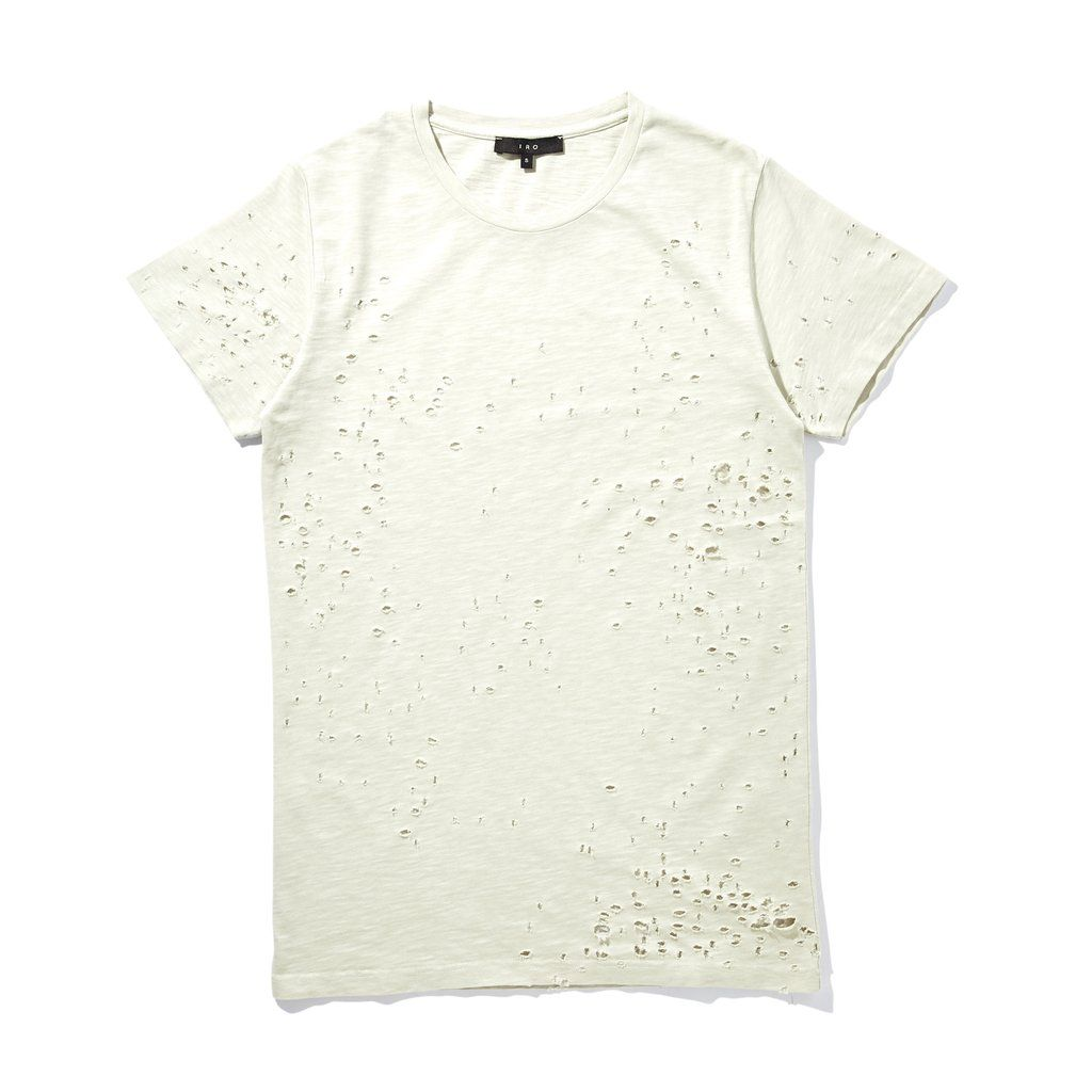 IRO HOMME silver grey Felix destroyed short sleeve t-shirt. 100% Cotton…