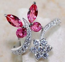 3CT Ruby & White Topaz 925 Solid Genuine Sterling Silver Ring Sz 7