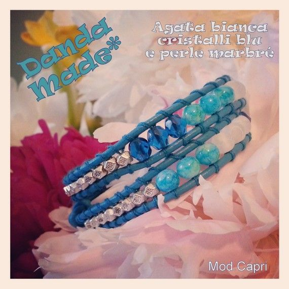 Bracciale 2 giri in cuoio turchese, agata bianca e cristalli - turquoise wrap bracelet leather and gemstones