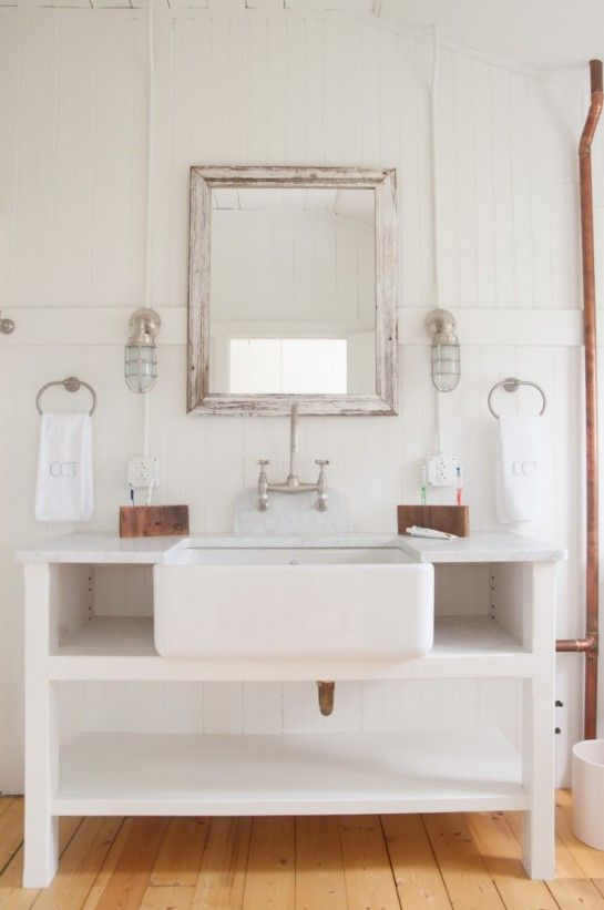 Gallery One furniture riveting cottage bathroom vanity cabinets with square distressed wood wall mirror and white beadboard bathroom