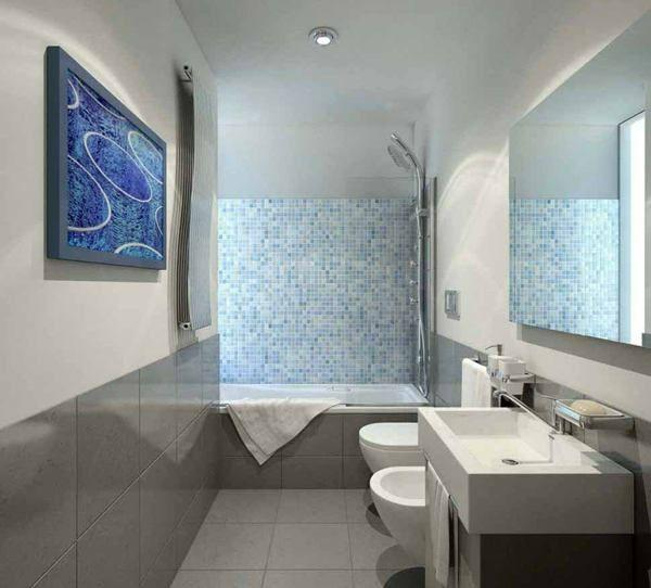kleines bad mosaikfliesen dusche badewanne badmbel - Badezimmer Dusche Oder Badewanne