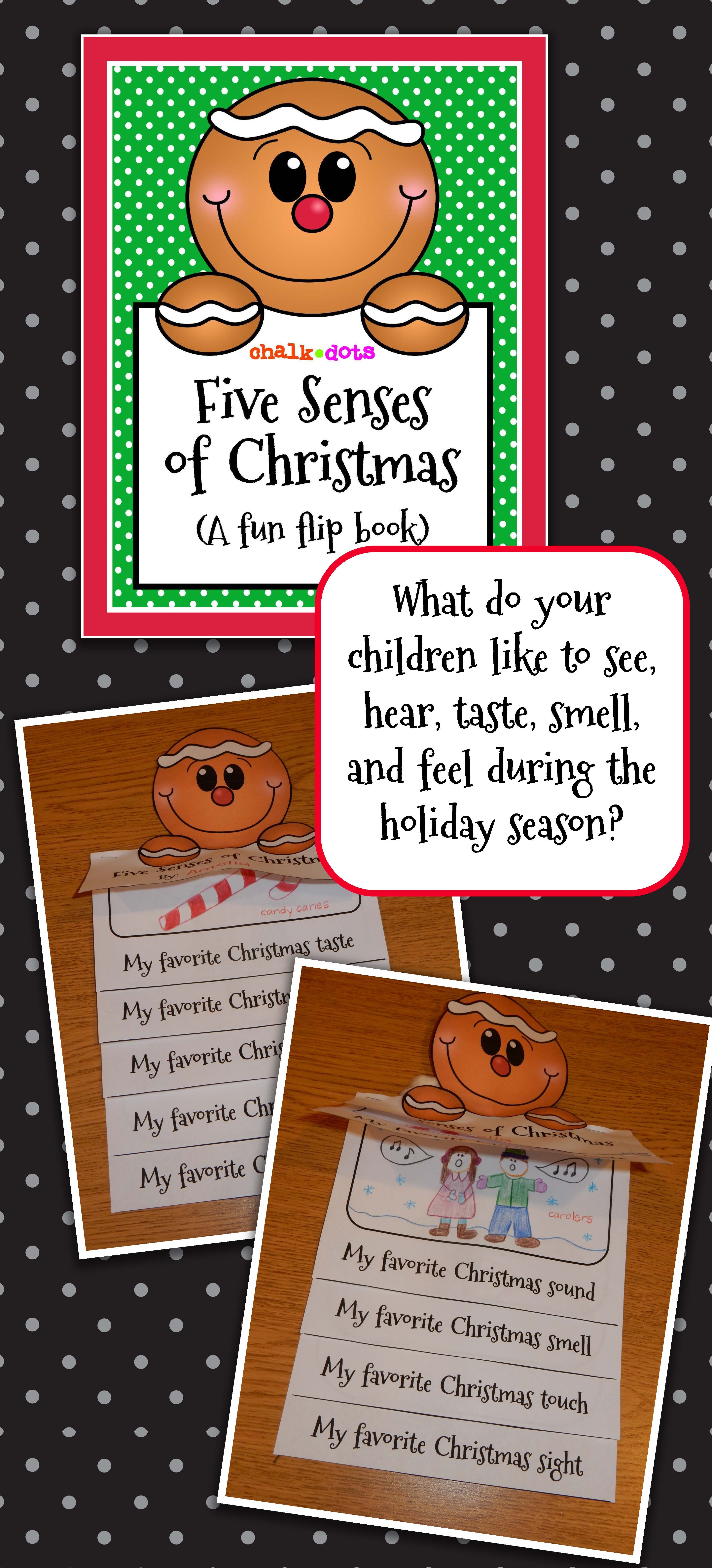 Christmas Writing Five Senses Of Christmas Flip Book Teaching Ideas
