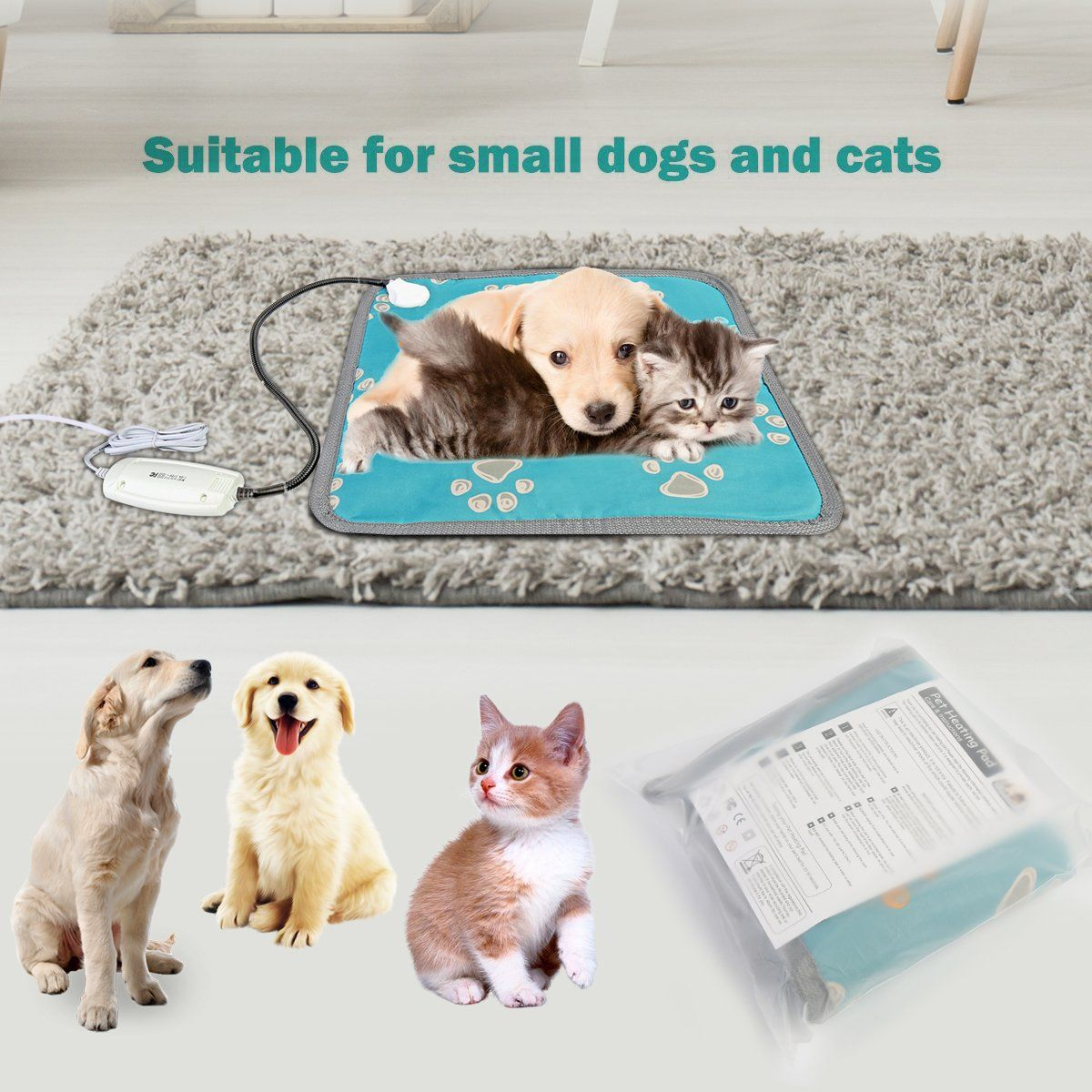 Pet Heating Pad Electric Warming Mat Waterproof Heating Bed For