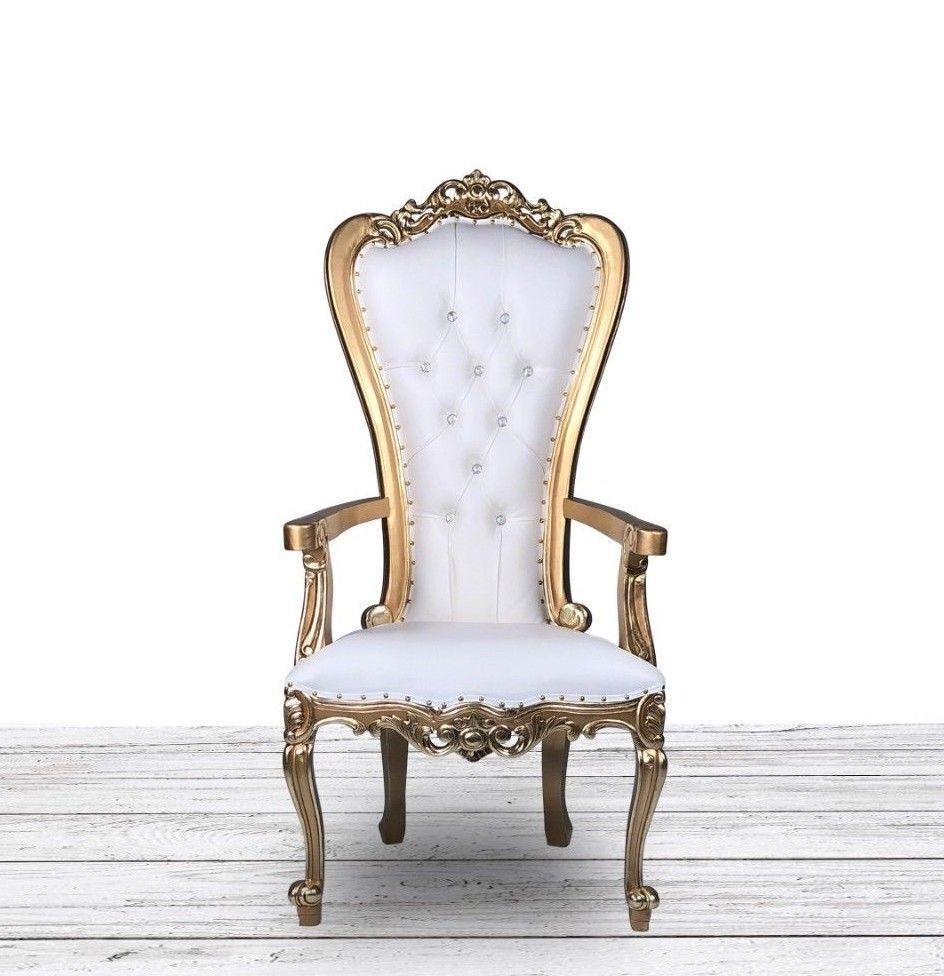 Petite Wedding Throne. Hand Carved Gold and White Wedding