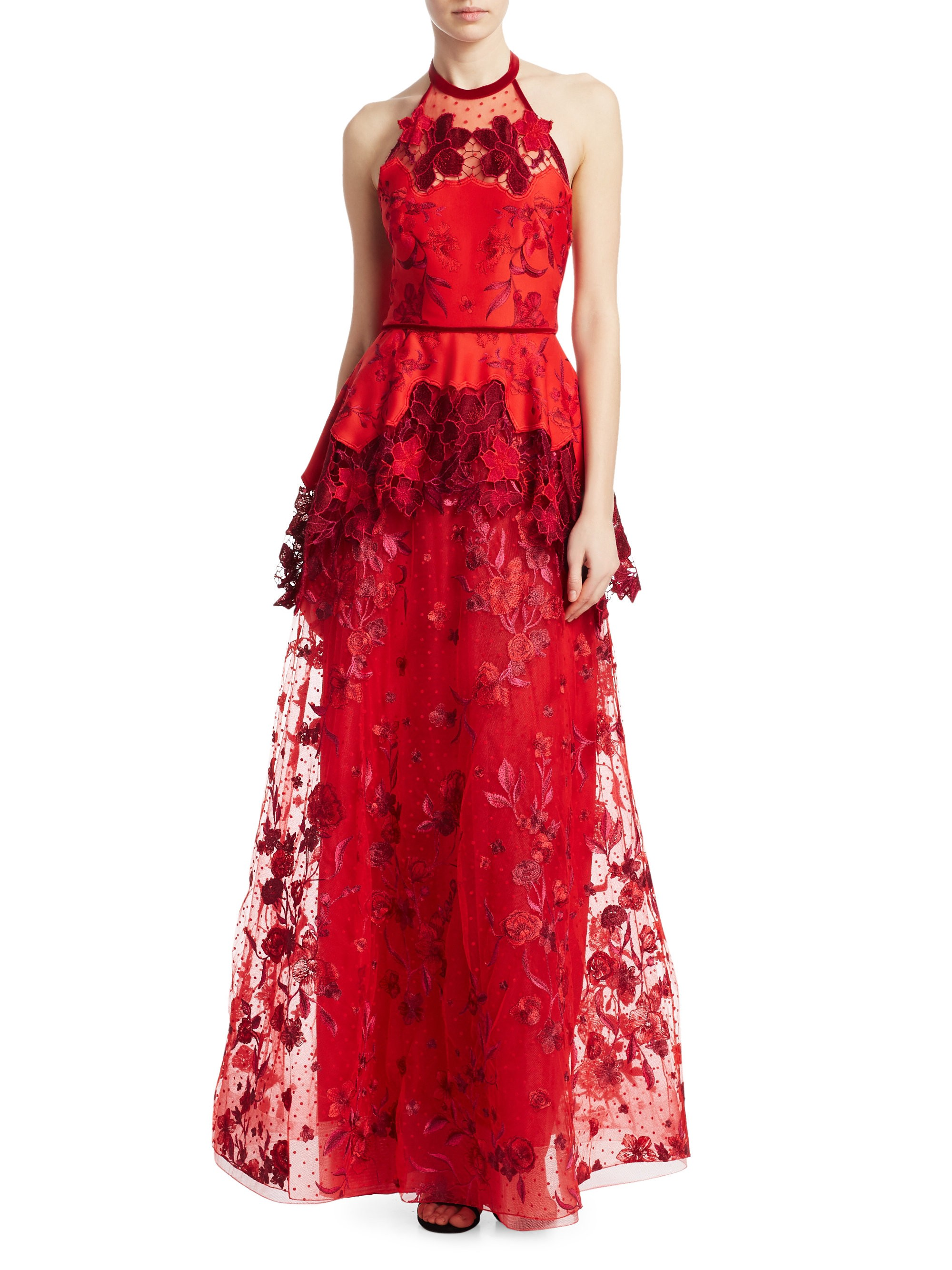 142a1142 Marchesa Notte Laser Cut Embroidered-Floral Halter Gown - Red 6 in ...