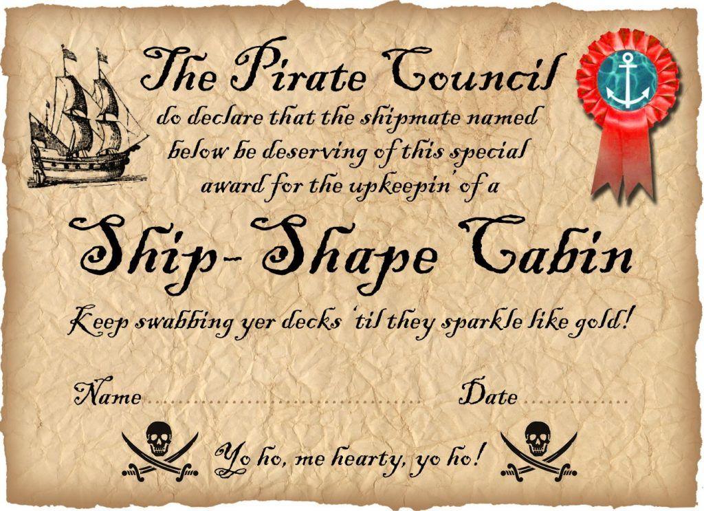 Pirate Certificate Award For A Ship Shape Cabin Pirate