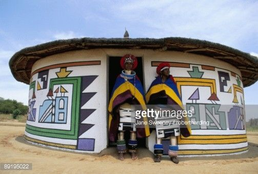Stock Photo : Nbelle (Ndbele) ladies outside house, Mabhoko (Weltevre) Nbelle village, South Africa, Africa