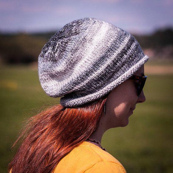 Black White Flecked Slouchy Beanie Hat / Grey White Black Striped ...